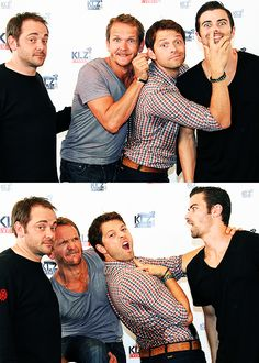 """""""Supernatural - Mark Sheppard, Seb Roche, Misha Collins and Matt Cohen"""" - I love that Mark has the exact same face in both pictures"""