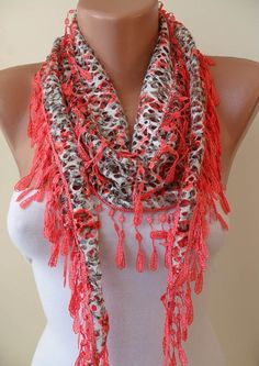 perforating fabric | Perforated Fabric Bright Salmon Shawl / Scarf ... | Clothes for me.…