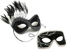 black and silver couple masks