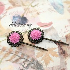 Flower Hairpins Antique Bronze/Vintage/Anthropology by DeliciousMe, $5.00