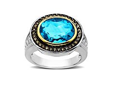 Swiss Blue Topaz and 1/4 ct Champagne Diamond Ring in 14K Gold and Sterling Silver#unique wedding rings#silver #wedding #rings#platinum and #diamond wedding rings#modern mens wedding rings