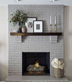 Modern Rustic Painted Brick Fireplaces Ideas 26 - June 15 2019 at Painted Brick Fireplaces, Grey Fireplace, Fireplace Update, Paint Fireplace, Brick Fireplace Makeover, Home Fireplace, Living Room With Fireplace, Fireplace Design, Fireplace Mantels