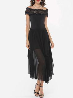 Lace Patchwork Plain Asymmetrical Hems Elegant One Shoulder Maxi-dress  -  fashionMia.com
