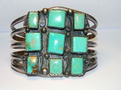 Old Pawn Navajo Kingman Turquoise Overlay Sterling Cuff Bracelet