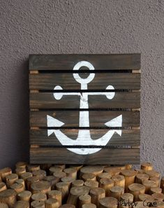 Rustic Gray Anchor Pallet Wood Sign on Etsy, $39.00