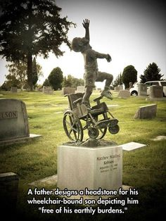 Father orders headstone depicting child finally free from his wheelchair.