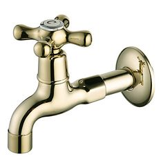 Ti-PVD Finish Wall-Mount Antique Style Brass Bathroom Sink Faucets (Washing Machine Faucets) – USD $ 49.99