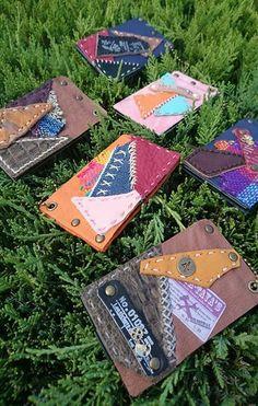 handmade portable mirror leather and ethnic textile materials ハンドメイド携帯用ミラー 革 民族織物