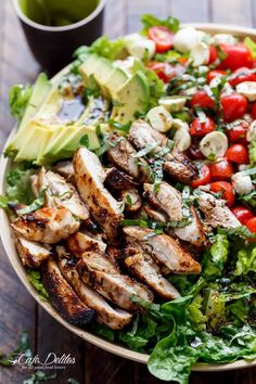 Balsamic Chicken Avocado Caprese Salad | http://cafedelites.com