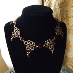 Chainmail Necklace Red Glass Steampunk Game of Thrones Gothic Renaissance | eBay