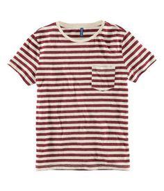 tee   striped // red & white // pocket // short sleeved