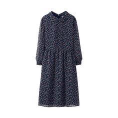 WOMEN Chiffon Printed 3/4 Sleeve Dress-UNIQLOUKOnlinefashionstore