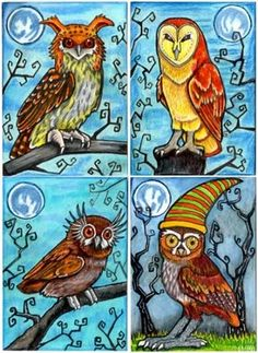 My daughter loves . Owls of Whimsy by ~lemurkat (deviantart) Whimsical Owl, Whimsical Halloween, Halloween Art, Owl Art, Bird Art, Watercolor Animals, Watercolor Art, Owl Pictures, Cute Owl