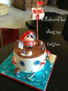 Pirate Birthday Cake #Pirate #Cake