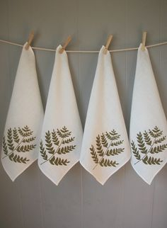 Organic Linen Napkins- Fern Design- Hand Screen Printed in Moss Green- Set of Four. $36.00, via Etsy.