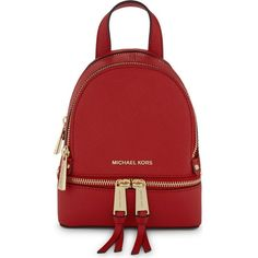 Michael Michael Kors Rhea extra-small saffiano leather backpack ($210) ❤ liked on Polyvore featuring bags, backpacks, day pack backpack, knapsack bag, handle bag, michael michael kors bags and backpack bags