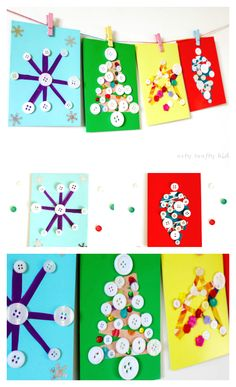 Arty Crafty Kids Scrap Paper And Button Diy Christmas Cards - We All Love A Homemade Christmas Card At Christmas And These Gorgeous Card Are Easy And Fun For Kids To Make. Easy Preschool Crafts, Preschool Christmas Crafts, Christmas Arts And Crafts, Christmas Activities For Kids, Easy Arts And Crafts, Diy Christmas Cards, Easy Crafts For Kids, Craft Activities For Kids, Homemade Christmas