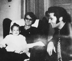 Baby Lisa home at Graceland with father Elvis and grandmother Minnie Mae, c. 1968