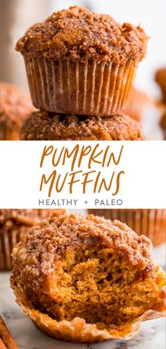 Muffins Sans Gluten, Paleo Pumpkin Muffins, Gluten Free Pumpkin, Healthy Muffins, Vegan Pumpkin, Paleo Pumpkin Recipes, Pumpkin Pumpkin, Pumpkin Foods, Healthy Cupcakes