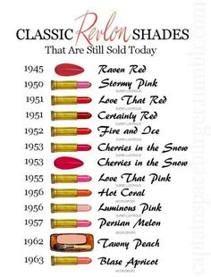 classic Revlon shades that are still sold today