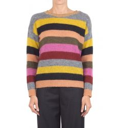 Suoli - Sweater - 300845 - Multicolor - 19000   Multicolor striped wool sweater. Round neckline with lamé. Gold buttons on the shoulder. Long sleeve. Straight and wide cut. Fabric composition: 35% Alpaca 35% mohair 30% polyamide. Made in Italy. The model wears the size 40 and is 175 cm high.
