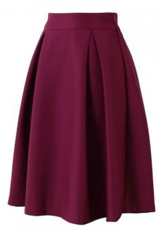 Full A-line Midi Skirt in Violet - Retro, Indie and Unique Fashion