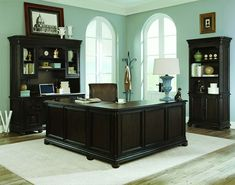 Feel like an executive with this beautiful desk in a rich dark finish. Get work down and look like a boss doing it.