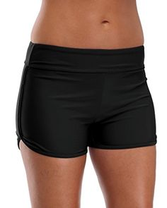 deb5fd1041 ATTRACO Attraco Women's Board Shorts Bikini Bottom Solid Sport Swim Shorts  Swim Bottoms