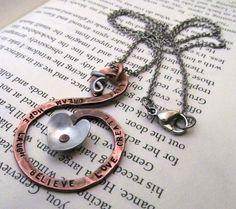Copper Heart Necklace  Hand Stamped Jewelry by FiredUpLadiesHammer, $29.00