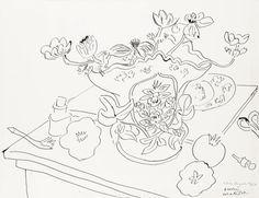 Henri Matisse (French, 1869-1954), Nature morte aux fleurs, 21st April 1946. Pen and ink on paper, 43 x 55.5 cm.