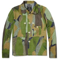 Nigel Cabourn Classic Shirt Jacket (Indigo Camo) Camouflage | Green brown pattern | Coat