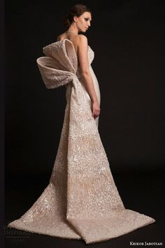 Stunning Strapless Column Bridal Gown Featuring A Large Oversized Beaded & Embroidered Bow Train by Krikor Jabotian Spring 2015^^^^