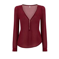 Yoins Burgundy Zipper Front Chiffon Blouse (34 PEN) ❤ liked on Polyvore featuring tops, blouses, shirts, long sleeved, blusas, burgundy, red shirt, burgundy blouse, zipper shirt and red blouse