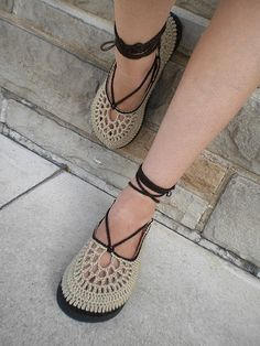 Chocolate and Beige Crochet Shoes | Flickr - Photo Sharing!