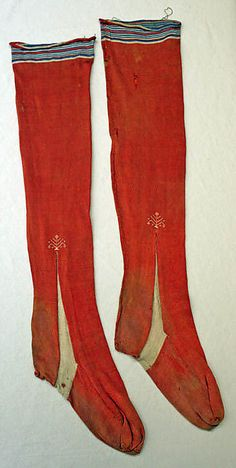 Stockings  Date: 19th century Culture: European Medium: silk Dimensions: [no dimensions available] Credit Line: Gift of Mr. Lee Simonson, 1944 Accession Number: C.I.44.8.11a, b - Possibly woven. Certainly cut and sewn.