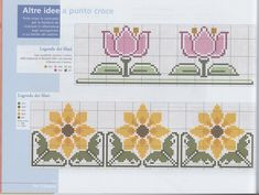 This Pin was discovered by Bla Mini Cross Stitch, Cross Stitch Borders, Cross Stitch Flowers, Cross Stitching, Cross Stitch Embroidery, Cross Stitch Patterns, Knitting Charts, Knitting Patterns, Vintage Borders