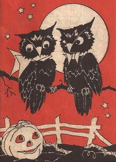 Cute vintage owl, full moon and jack-o-lantern illustration. #vintage #Halloween