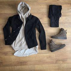 WEBSTA @ kylescropper - Work is so stressful at timesMDV distressed denim jacketRepresent beige gym hoodie H Teen Guy Fashion, Dope Fashion, Mens Fashion, Casual Wear, Casual Outfits, Fashion Outfits, Outfit Grid, My Outfit, Beige Hoodies