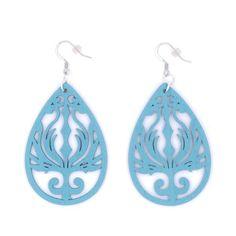 Amazon.com: Light Blue Wood Earrings Phoenix Black Gunmetal Silver Brass Teardrop Statement Earrings Flame Filigree…
