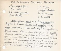 Teacakes Tribute both to my Grandmother Mary Winifred Bailey and My Mom. This is the best roll out cookie recipe you will ever use. Perfect for. Retro Recipes, Old Recipes, Vintage Recipes, Cookie Recipes, Lemon Recipes, Family Recipes, Sweet Recipes, Yummy Recipes, Old Fashioned Tea Cakes