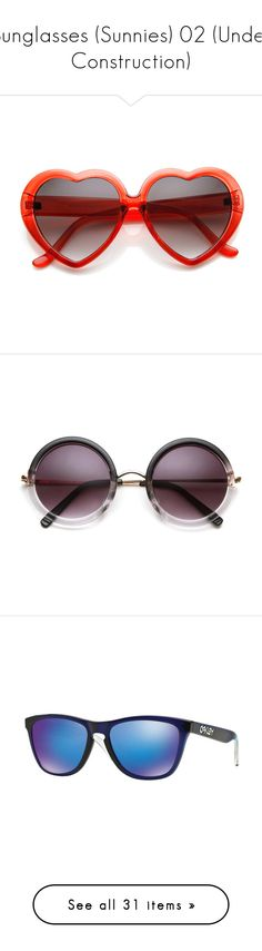"""Sunglasses (Sunnies) 02 (Under Construction)"" by kelsjax ❤ liked on Polyvore featuring accessories, eyewear, sunglasses, glasses, oversized heart sunglasses, over sized sunglasses, oversized eyewear, heart sunglasses, oversized heart shaped sunglasses and pink"