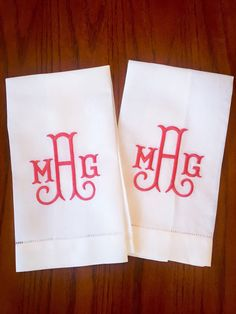 Linen Monogrammed Hand Towels Set of 2 by LongDogShop on Etsy Monogrammed Hand Towels, Monogram Towels, Monogram Letters, Monogrammed Ideas, Monogram Fonts, Embroidery Monogram, Embroidery Fonts, Machine Embroidery Patterns, Hand Embroidery Designs