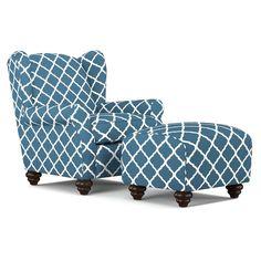 Wingback Chair and Ottoman Set Navy Blue Trellis Living Room Accent Armchair #PORTFOLIO