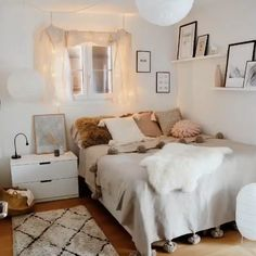 34 Fabulous Small Bedroom Apartment Decorating Ideas - Space is one of the most common issues with condos and apartments these days. Unless you are willing to pay more for a bigger space, you just need to . Bohemian Bedroom Decor, Apartment Bedroom Decor, Room Ideas Bedroom, Small Room Bedroom, Ikea Bedroom, Bedroom Furniture, Bedroom With Sofa, Narrow Bedroom Ideas, Long Bedroom Ideas