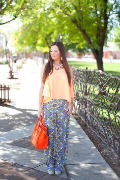 Orange-Spring-Fashion-Style-Blogger-Blog-Hair-Makeup-Celine-Handbag-Colorful-Bright-Summer-J.Crew-Necklace-Pants-Blouse