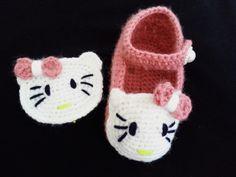 كروشيه حذاء اطفال Crochet chaussure  hello kitty