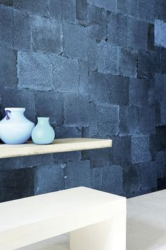 Elitis's Mindoro Kalibo wallcovering is a handcrafted marquetry of palm fibers in 11 organic colors.  Beautiful detail.