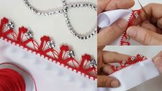 İnci boncuklar, simli veya gümüş renk boncuklarla yapılan kırmızı tığ oyası modeli. Bu tığ oyası modelinde kırmızı ve gümüş renginin asaleti yansıyor. Elsa, Beauty, Cosmetology, Jelsa