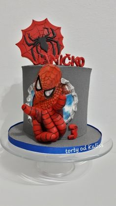 Spiderman cake by Kaliss Spiderman Cake Topper, Spiderman Birthday Cake, Batman Cakes, Superhero Cake, Cake Birthday, Lego Cake, Cake Minecraft, Minecraft Houses, Cake For Husband