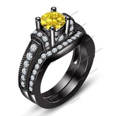 Black Gold Finish 925 Silver Solitaire with Accents Engagement Bridal Ring Set #aonedesigns